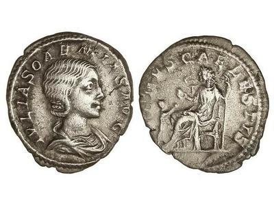 Denario de Julia Soemias. VENVS CAELESTIS. Venus sentada a izq. Roma 1476377.m