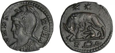 AE3 conmemorativa de Roma. VRBS ROMA. Roma 2484444.m