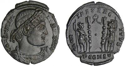 AE3 de Constantino I. GLORIA EXERCITVS. Soldados entre 2 estandartes. Arlés 2484448.m