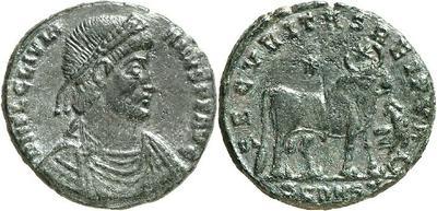 Maiorina de Juliano II El Apóstata. SECVRITAS REI PVB. Toro estante a dcha. Arlés. 2591352.m