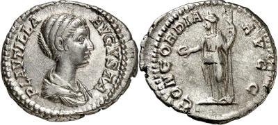 Denario de Plaucila. CONCORDIA AVGG. Concordia a izq. Roma 3850850.m
