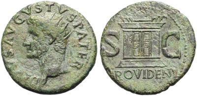 As póstumo de Augusto acuñado por Tiberio. PROVIDENT . Altar. Roma 7550136.m