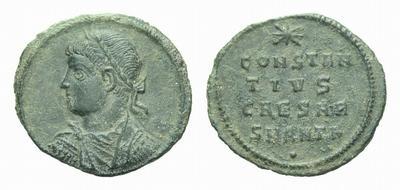 AE3 de Constancio II. CONSTAN/TIVS/CAESAR. Antioquía 2079090.m