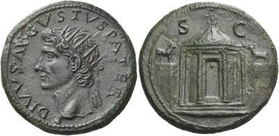 Dupondio póstumo de Augusto. Oricalco. Templo hexástilo.  4456118.m
