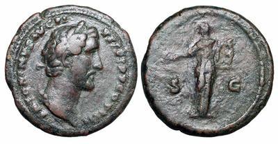 As de Antonino Pío. S C. Apolo estante con lira y pátera. 1334755.m
