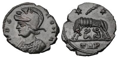 AE4 conmemorativa de Roma. VRBS ROMA. La loba capitolina con los gemelos. Trier. 3651723.m
