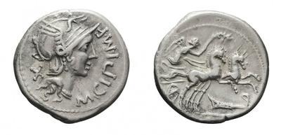 Denario republicano  gens Cipia. Victoria en biga. Con un diámetro muy pequeño 1020638.m
