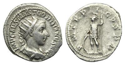 Antoniniano de Gordiano III. P M TR P II COS P P. Virtus 1225240.m