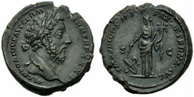 As de Marco Aurelio. IMP VIII COS III P P PAX AETERNA AVG. Paz a izq. Roma 1842017.m
