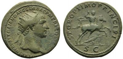 Dupondio de Trajano. SPQR OPTIMO PRINCIPI /S C.  Emperador a caballo 1937474.m