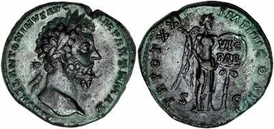 Dupondio de Marco Aurelio. IMP VI COS III /S C. Victoria 1330266.m