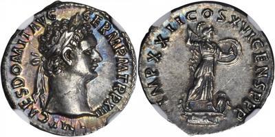 Denario de Domiciano. IMP XXII COS XVI CENS P P P. Minerva 3602935.m
