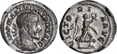 Denario forrado de Maximino I el Tracio. VICTORIA AVG 3854734.m