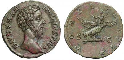 Sestercio póstumo de Marco Aurelio. CONSECRATIO. Emperador en águila. Roma 1237111.m