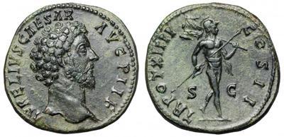 Sestercio de Marco Aurelio. TR POT XIIII COS II /S C. Marte 1537974.m