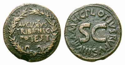 Dupondio imitativo de Augusto. AVGVSTVS TRIBVNIC POTEST 1738771.m