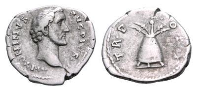 Denario de Antonio Pío. TR P COS II. Modio. Roma 1845025.m