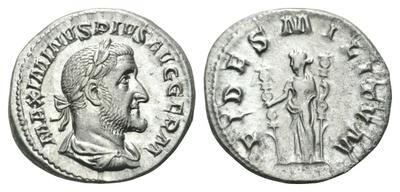 Denario de Maximino I. FIDES MILITVM. Roma 2337289.m