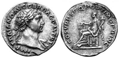 Denario de Trajano. COS V P P S P Q R OPTIMO PRINC. Aequitas sedente a izq. Roma. 2370642.m