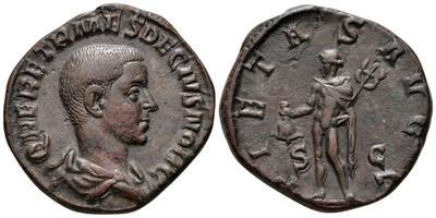 Sestercio de Herennio Etrusco. PIETAS AVGG /S C. Mercurio  2434264.m