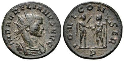 Antoniniano de Aureliano. IOVI CONSER. Emperador y Júpiter. Sérdica 2574865.m