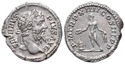 Denario de Septimio Severo. P M TR P XIIII COS III P P. Genio a izq. Roma 2971617.m