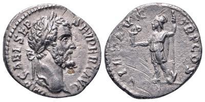 Denario de Septimio Severo. VIRT AVG TR P COS. Valor a izq. Roma 3181223.m