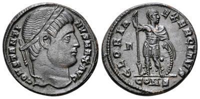 AE3 de Constantino I Magno. GLORIA EXERCITVS. Soldado estante a izq. mirando a dcha. Ceca Constantinopla. 3181410.m