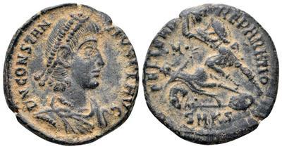 AE3 de Constancio II. FEL TEMP RE-PARATIO. Soldado romano alanceando a jinete caído. Constantinopolis. 3623940.m