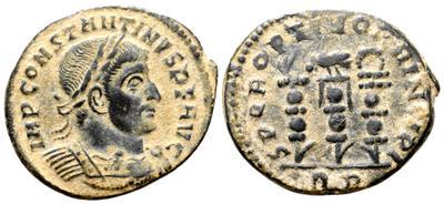 Nummus de Constantino I. SPQR OPTIMO PRINCIPI. 3 Estandartes. Roma 5487186.m