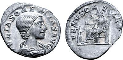 Denario de Julia Soemias. VENVS CAELESTIS. Venus sentada a izq. Roma 6134920.m