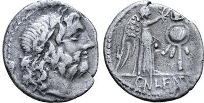 Quinario de la gens Cornelia. CN LENT. Victoria y trofeo. Roma 6168154.m