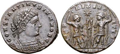 AE3 de Constantino I. GLORIA EXERCITVS. Soldados entre 2 estandartes. Arlés 6617485.m