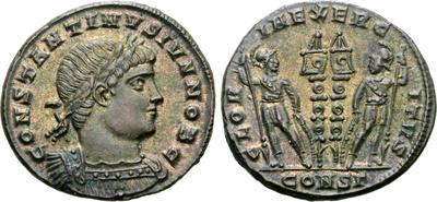 AE3 de Constancio II. GLORIA EXERCITVS. Soldados entre 2 estandartes. Constantinopla 7117751.m