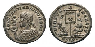 AE3 de Constantino II. VIRTVS EXERCIT. Siscia 1971954.m