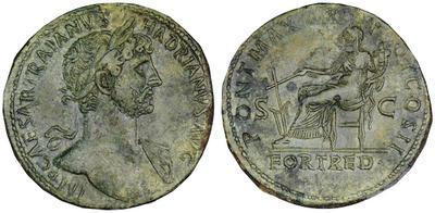 Sestercio de Adriano. PONT MAX TR POT COS II / FORT RED /S C. Fortuna 566589.m